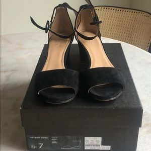 J.Crew Black Suede Kitten Heel Wedges-Size 7